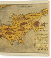 Map Of Cyprus 1562 Wood Print