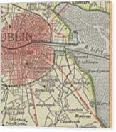 Map Of Dublin Wood Print