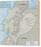 Map Of Ecuador 2 Wood Print