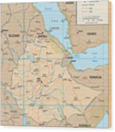 Map Of Ethiopia Wood Print