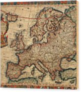 Map Of Europe 1700 Wood Print