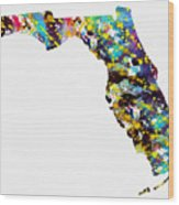 Map Of  Florida-colorful Wood Print