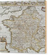 Map Of France, 1627 Wood Print