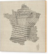 Map Of France Old Sheet Music Map Wood Print