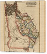 Map Of Georgia 1817 Wood Print