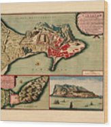 Map Of Gibraltar 1706 Wood Print