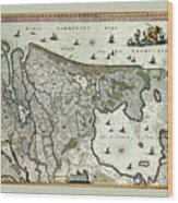 Map Of Holland 1682 Wood Print