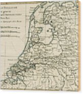 Map Of Holland Including The Seven United Provinces Of The Low Countries Wood Print