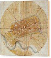 Map Of Imola 1502 Wood Print
