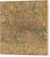 Map Of London England United Kingdom Vintage Street Map Schematic Circa 1899 On Old Worn Parchment  Wood Print