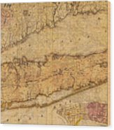 Map Of Long Island New York State In 1842 On Worn Distressed Canvas  Wood Print