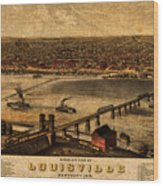 Map Of Louisville Kentucky Vintage Birds Eye View Aerial Schematic On Old Distressed Canvas Wood Print