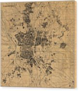 Map Of Madrid Spain Vintage Street Map Schematic Circa 1943 On Old Worn Parchment  Wood Print