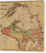 Map Of Michigan Upper Peninsula And Lake Superior Vintage Circa 1873 On Worn Distressed Canvas  Wood Print