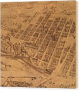 Map Of Minneapolis Minnesota Vintage Birds Eye View Aerial Schematic On Old Distressed Canvas Wood Print