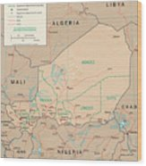 Map Of Niger Wood Print