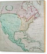 Map Of North America Wood Print by English School