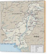 Map Of Pakistan Wood Print