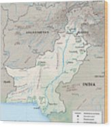 Map Of Pakistan2  Wood Print