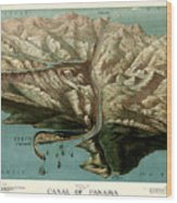 Map Of Panama Canal 1881 Wood Print