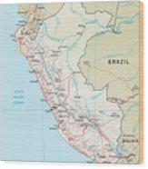 Map Of Peru 2 Wood Print