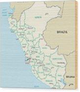 Map Of Peru Wood Print