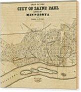 Map Of Saint Paul 1852 Wood Print
