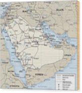Map Of Saudi Arabia 2 Wood Print