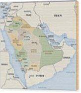 Map Of Saudi Arabia Wood Print