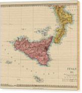 Map Of Sicily 1875 Wood Print
