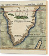 Map Of South Africa 1513 Wood Print