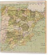 Map Of Spain Wood Print