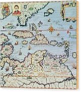 Map Of The Caribbean Islands And The American State Of Florida  Wood Print by Theodore de Bry