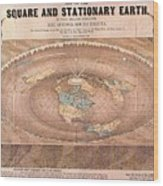 Map Of The Flat Earth Wood Print