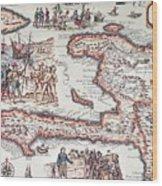 Map Of The Island Of Haiti Wood Print