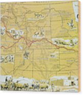 Map Of The Old Oregon Trail Wood Print