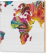 Map Of The World 2 -colorful Abstract Art Wood Print