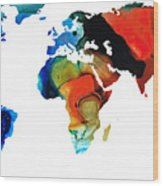 Map Of The World 3 -colorful Abstract Art Wood Print