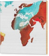 Map Of The World 4 -colorful Abstract Art Wood Print by Sharon Cummings