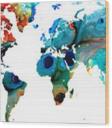 Map Of The World 6 -colorful Abstract Art Wood Print