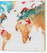 Map Of The World 7 -colorful Abstract Art Wood Print