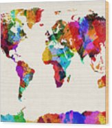 Map Of The World Map Abstract Painting Wood Print