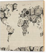 Map Of The World Map From Old Clocks Wood Print by Michael Tompsett