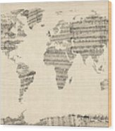 Map Of The World Map From Old Sheet Music Wood Print