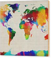 Map Of The World Map Wood Print