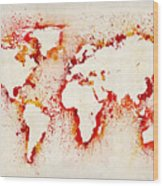 Map Of The World Paint Splashes Wood Print by Michael Tompsett