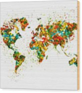 Map Of The World Watercolor Wood Print