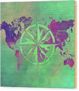 Map Of The World Wind Rose 3 Wood Print