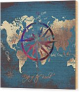 Map Of The World Wind Rose 4 Wood Print