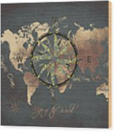 Map Of The World Wind Rose 5 Wood Print